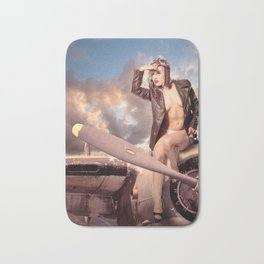 """Captain Felix"" - The Playful Pinup - Bomber Jacket Pin-up Girl by Maxwell H. Johnson Bath Mat"