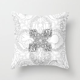 The Ocean's, Black and White Throw Pillow