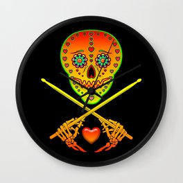 Neon Sugar Skull Drummer. Wall Clock