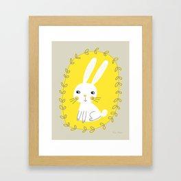 Bunny – Gray Yellow White Nursery Decor Illustration by Tasha Johnson Framed Art Print