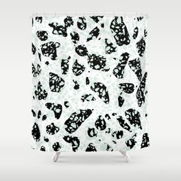 Triple Terrazzo - Mint Green Black & White Modern Speckle Pattern Shower Curtain