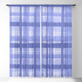 Tissue Paper Plaid - Blue Sheer Curtain