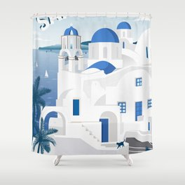 Vintage Santorini poster Shower Curtain