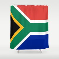 south africa Shower Curtains featuring Flag of South Africa by Neville Hawkins