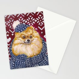 Pomeranian in a Hat and Scarf Stationery Cards