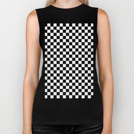 White and Black Checkerboard Biker Tank