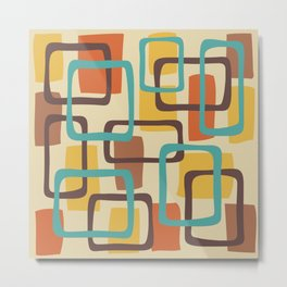 Mid Century Modern Overlapping Squares Pattern 126 Metal Print