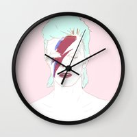 bowie Wall Clocks featuring Bowie by Itxaso Beistegui Illustrations