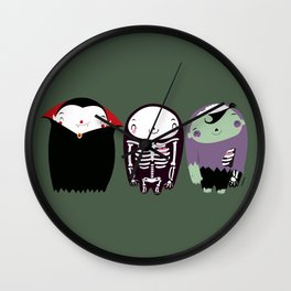 happy monster friends Wall Clock