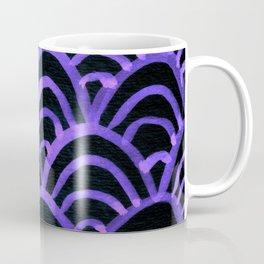 Handpainted Scallops Mermaid Scales Purple Black Coffee Mug