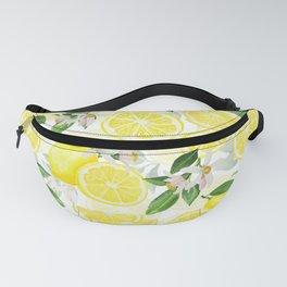 mediterranean summer lemon fruits on white Fanny Pack