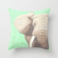om Throw Pillows featuring OM... by Ninamelusina