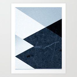 Geometrics II - blue marble & silver Art Print