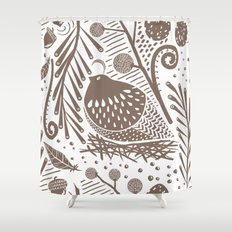 California Quail (Cocoa) Shower Curtain