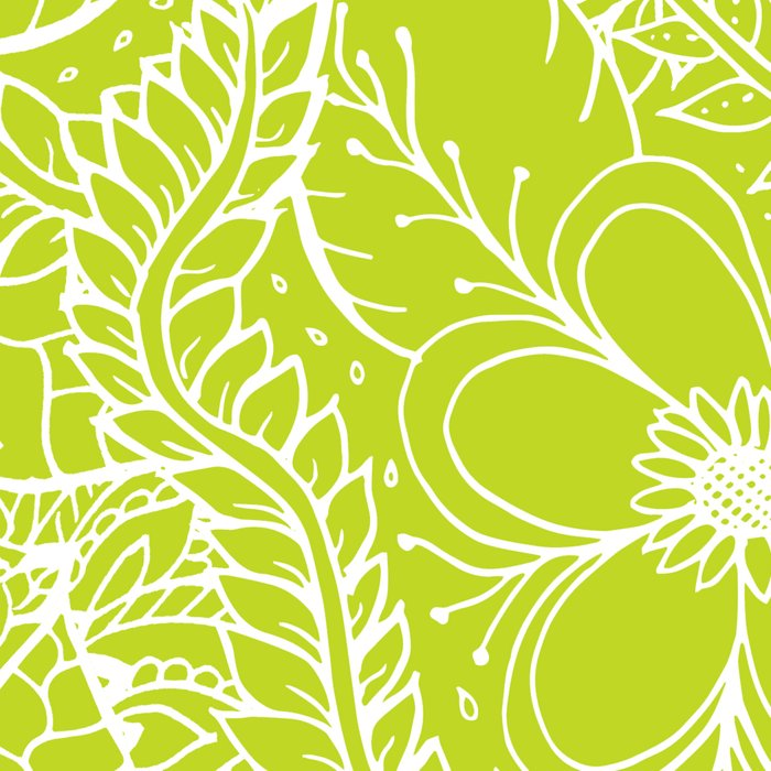 Modern white hand drawn floral lace illustration on lime green punch Leggings