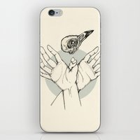 raven iPhone & iPod Skins featuring Raven by Marie Toh