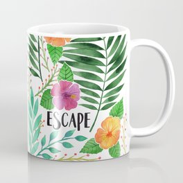 Escape - Tropical Watercolor Floral Coffee Mug