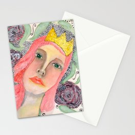 Pink hair Queen Stationery Cards