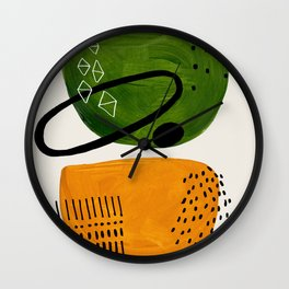 Mid Century Modern Abstract Colorful Art Patterns Olive Green Yellow Ochre Orbit Geometric Objects Wall Clock