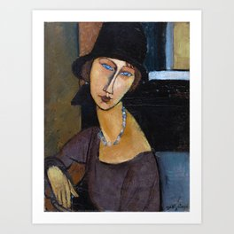 Amadeo Modigliani / Jeanne hebuterne with hat and necklace Art Print