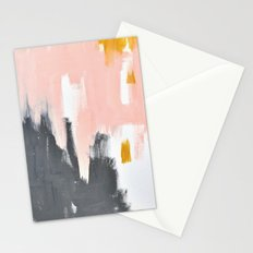 Gray and pink abstract Stationery Cards