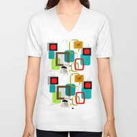 mid century V-neck T-shirts featuring Mid-Century Modern Inspired Abstract by Kippygirl