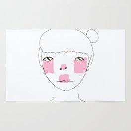 Line Drawing of Girl with Bun  Rug