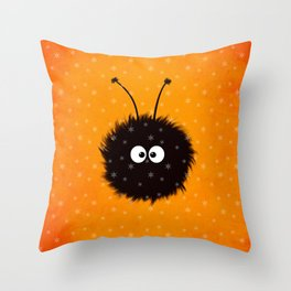 Orange Cute Dazzled Bug Winter Throw Pillow