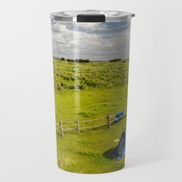 Camping tent and grass expanse Travel Mug