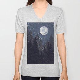 Full Moon Landscape Unisex V-Neck