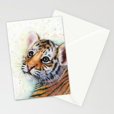 Tiger Cub Watercolor Cute Baby Animals Stationery Cards