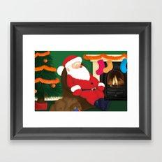 Sleeping Santa Framed Art Print