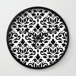 Scroll Damask Big Pattern Black on White Wall Clock