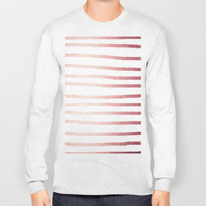 Simply Drawn Stripes Rose Gold Twilight Long Sleeve T-shirt