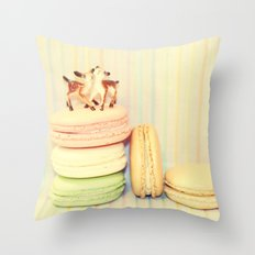 Deer Macarons Throw Pillow