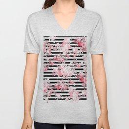 Vintage blush pink floral black white stripes Unisex V-Neck