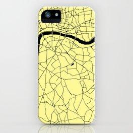London Yellow on Black Street Map iPhone Case