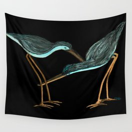 Sandpipers in Teal Blue Wall Tapestry