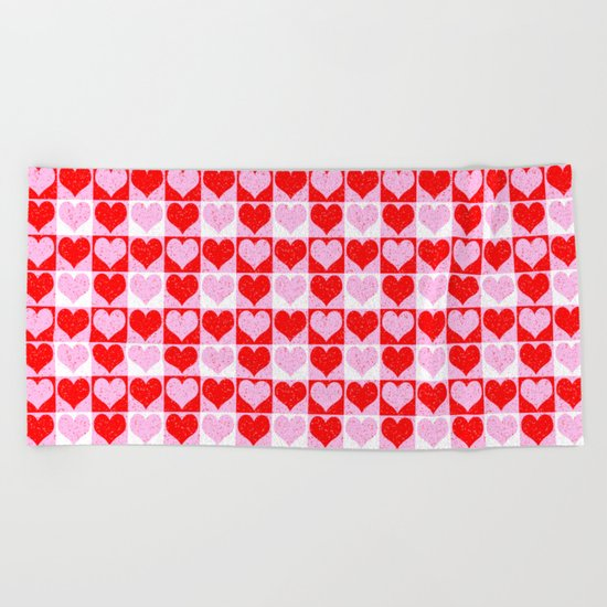 Love Heart Red Pink and White Check Pattern Beach Towel