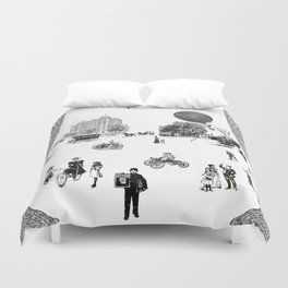 city view from window in 1898 vintage Victorian Duvet Cover