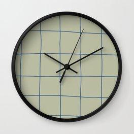 Simple Grid Green Blue Wall Clock