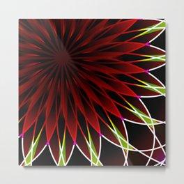 Neon flower mandala Metal Print