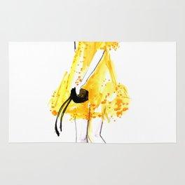 Yellow summer dress fashion illustration Rug
