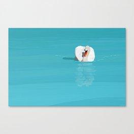 White Swan Blue Lake Canvas Print