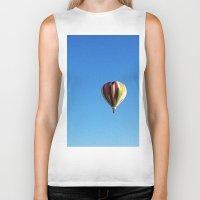 hot air balloon Biker Tanks featuring White Hot Air Balloon by Rachel Butler