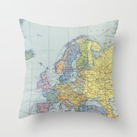 europe Throw Pillows featuring Europe Map by From Flora With Love