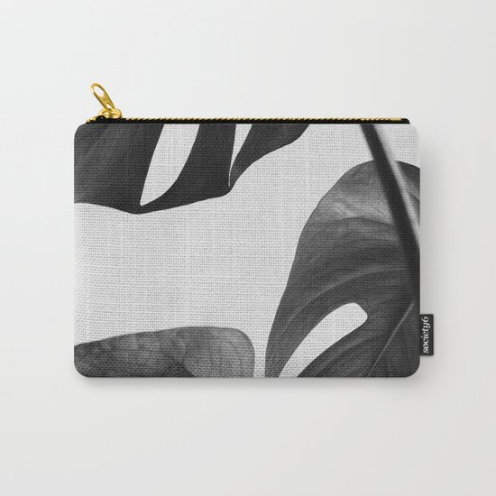 Black & white Monstera Carry-All Pouch