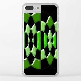The Green Thang - Abstract Green and Black Retro Design Clear iPhone Case