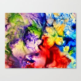 Abstract Encaustic Colorful Flowers, Canvas Print