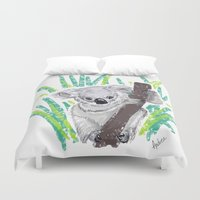 koala Duvet Covers featuring KOALA by Andrea Lacuesta Art